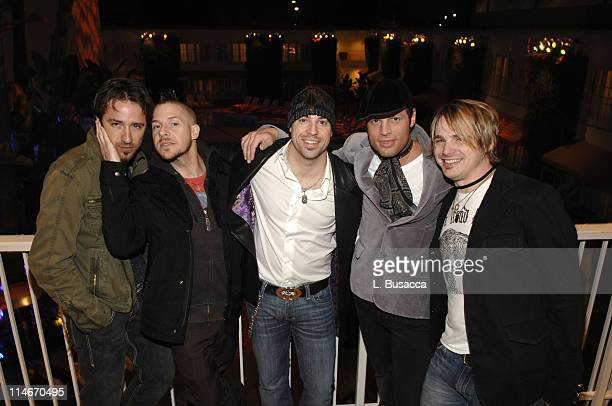 PRINT*** 'Daughtry' bandmembers pose with lead singer Chris Daughtry during rehearsals on February 7 2008 in anticipation of the upcoming 'Clive...