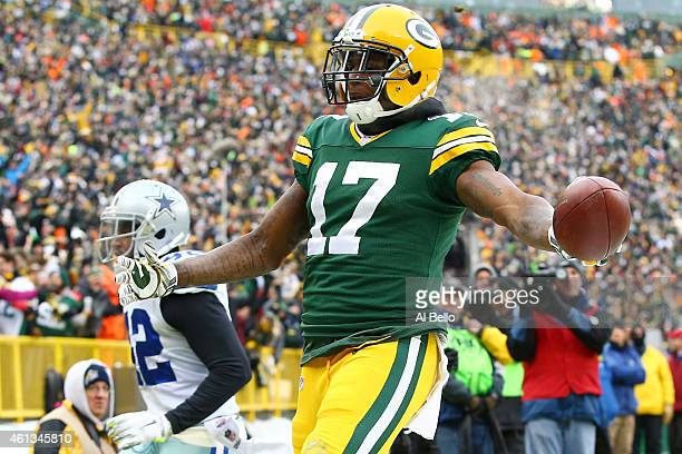 Davante Adams of the Green Bay Packers reacts after scoring a touchdown in the third quarter against the Dallas Cowboys during the 2015 NFC...