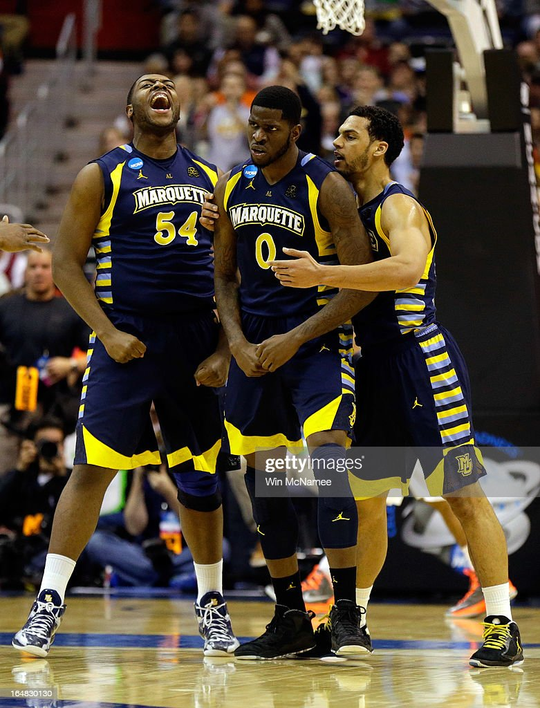 Davante Gardner #54, Jamil Wilson #0 and Trent Lockett #22 of the Marquette Golden Eagles react after a play against the Miami (Fl) Hurricanes during the East Regional Round of the 2013 NCAA Men's Basketball Tournament at Verizon Center on March 28, 2013 in Washington, DC.