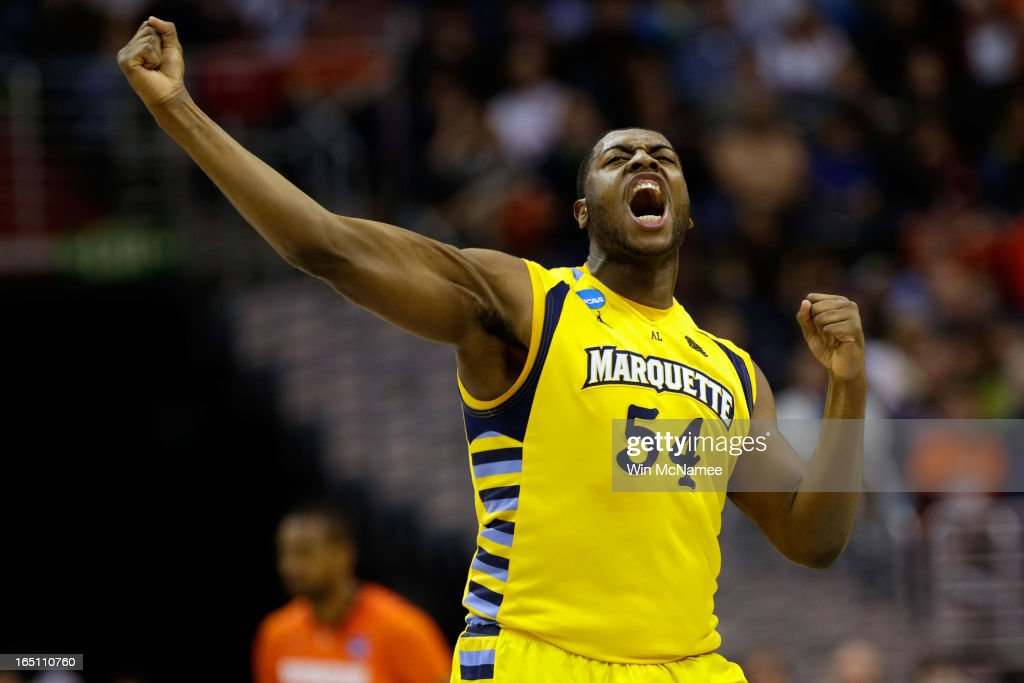 Davante Gardner #54 of the Marquette Golden Eagles reacts after a play against the Syracuse Orange during the East Regional Round Final of the 2013 NCAA Men's Basketball Tournament at Verizon Center on March 30, 2013 in Washington, DC.