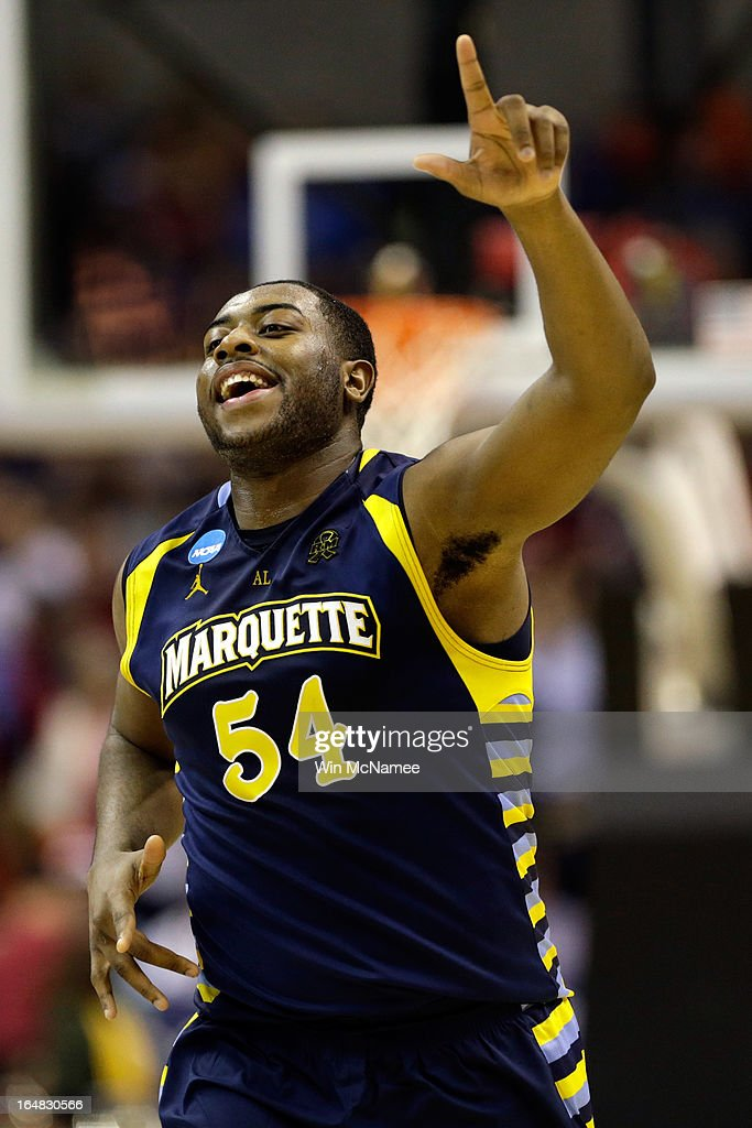 Davante Gardner #54 of the Marquette Golden Eagles reacts after defeating the Miami (Fl) Hurricanes during the East Regional Round of the 2013 NCAA Men's Basketball Tournament at Verizon Center on March 28, 2013 in Washington, DC.