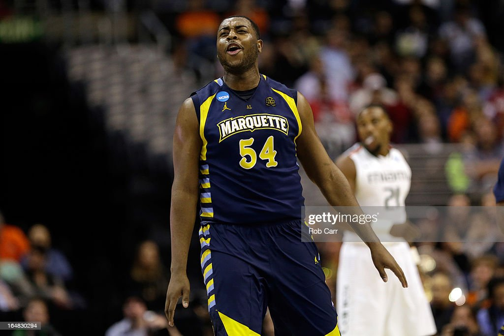 Davante Gardner #54 of the Marquette Golden Eagles reacts against against the Miami (Fl) Hurricanes during the East Regional Round of the 2013 NCAA Men's Basketball Tournament at Verizon Center on March 28, 2013 in Washington, DC.