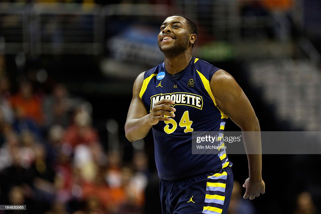 Davante Gardner #54 of the Marquette Golden Eagles reacts against the Miami (Fl) Hurricanes during the East Regional Round of the 2013 NCAA Men's Basketball Tournament at Verizon Center on March 28, 2013 in Washington, DC.