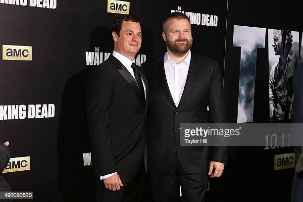 Dave Alpert and Robert Kirkman attend 'The Walking Dead' premiere at Madison Square Garden on October 9 2015 in New York City