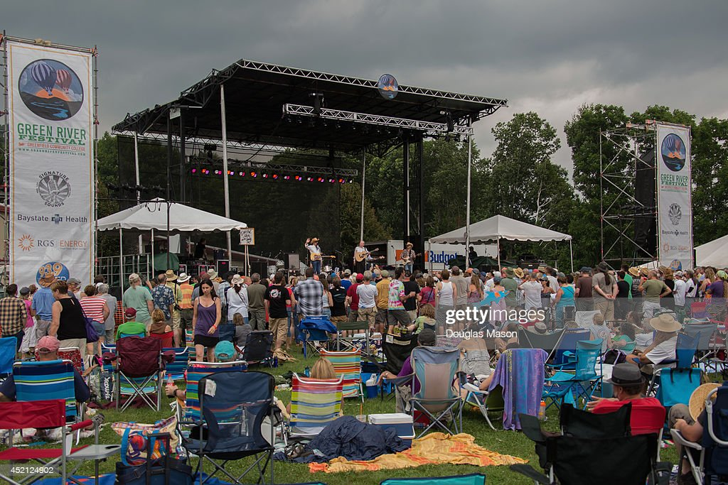 Dave and Phil Alvin and The Guilty Ones perform during the 2014 Green River Festival at Greenfield Community College on July 13 2014 in Greenfield...