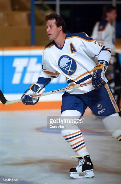 Dave Andrechuk of the Buffalo Sabres skates in warmup prior to a game against the Toronto Maple Leafs during NHL preseason on September 30 1992 at...