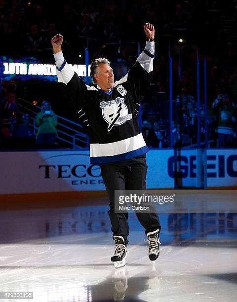 Dave Andreychuk former captain of the Tampa Bay Lightning is introduced as part of the team's celebration of the tenth anniversary of their Stanley...