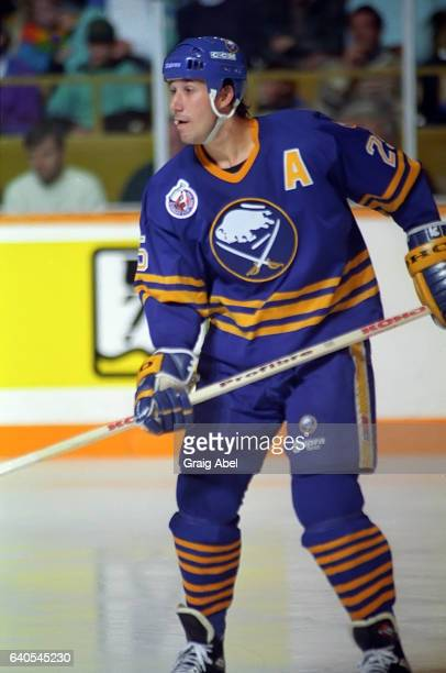 Dave Andreychuk of the the Buffalo Sabres watches the play develop against the Toronto Maple Leafs on October 28 1992 at Maple Leaf Gardens in...