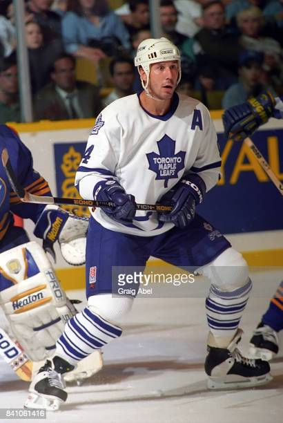 Dave Andreychuk of the Toronto Maple Leafs skates against the Buffalo Sabres during NHL preseason action on October 2 1995 at Maple Leaf Gardens in...