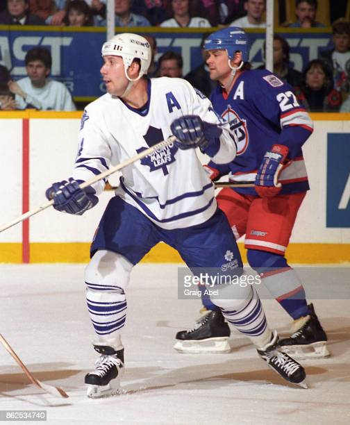 Dave Andreychuk of the Toronto Maple Leafs skates against the Winnipeg Jets during NHL game action on March 13 1996 at Maple Leaf Gardens in Toronto...