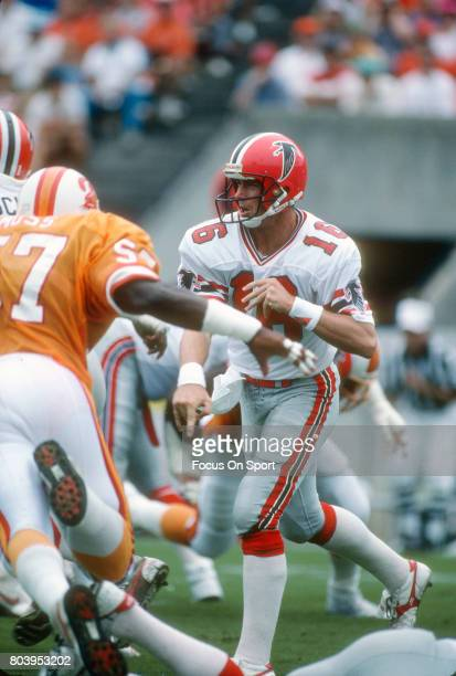 Dave Archer of the Atlanta Falcons throws a pass against the Tampa Bay Buccaneers during an NFL football game September 13 1987 at Tampa Stadium in...