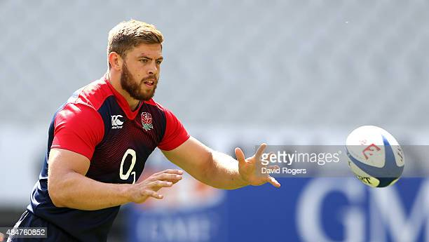 Dave Attwood catches the ball during the England captain's run at Stade de France on August 21 2015 in Paris France