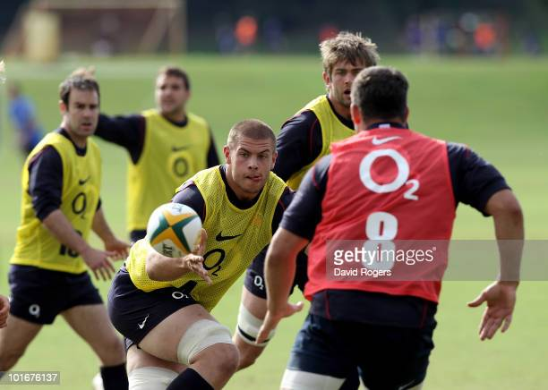 Dave Attwood catches the ball during the England rugby training session held at McGillveray Oval on June 7 2010 in Perth Australia