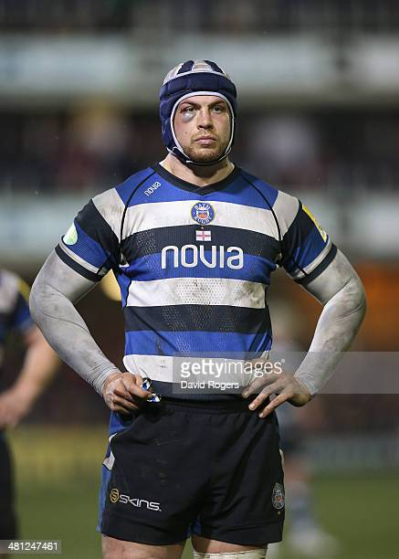 Dave Attwood of Bath looks on during the Aviva Premiership match between Bath and Sale Sharks at the Recreation Ground on March 28 2014 in Bath...
