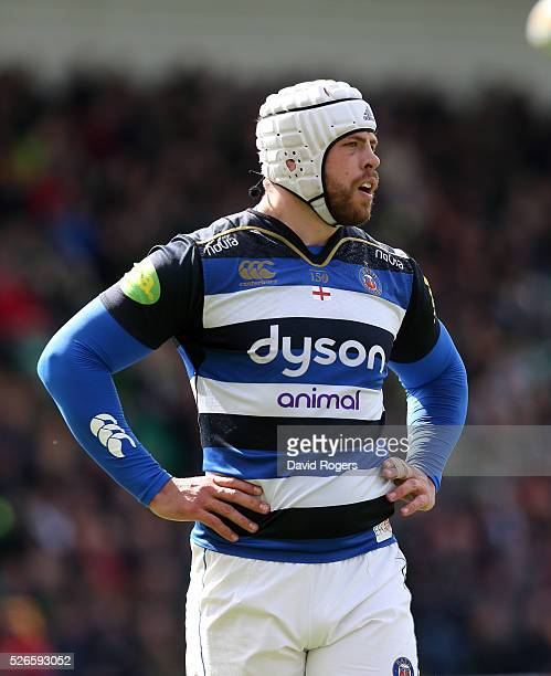 Dave Attwood of Bath looks on during the Aviva Premiership match between Northampton Saints and Bath at Franklin's Gardens on April 30 2016 in...