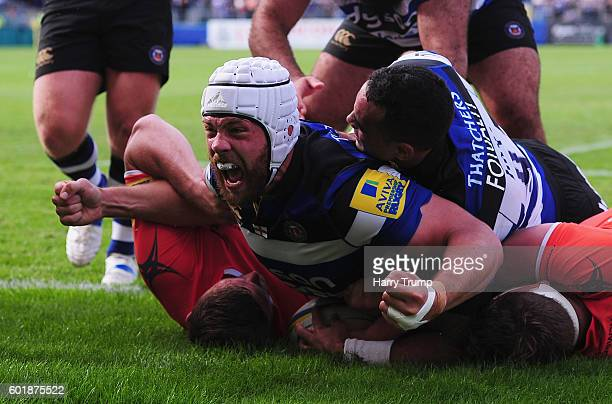 Dave Attwood of Bath Rugby celebrates his try during the Aviva Premiership match between Bath Rugby and Newcastle Falcons at the Recreation Ground on...