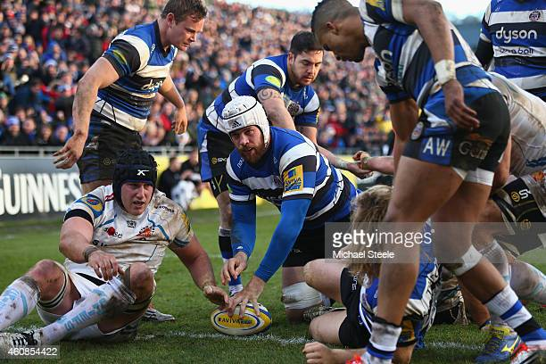 Dave Attwood of Bath scores a pushover try during the Aviva Premiership match between Bath Rugby and Exeter Chiefs at the Recreation Ground on...