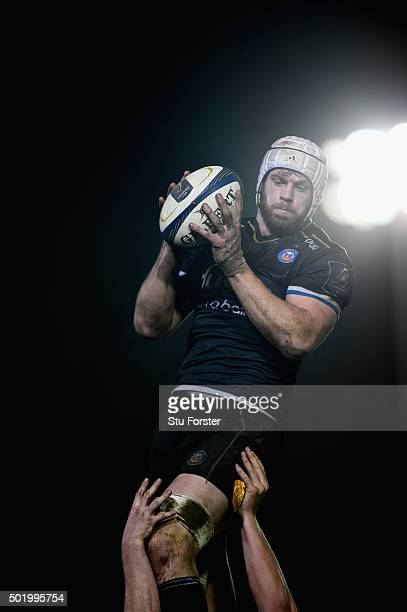 Dave Attwood of Bath wins a lineout ball during the European Rugby Champions Cup match between Bath Rugby and Wasps at Recreation Ground on December...