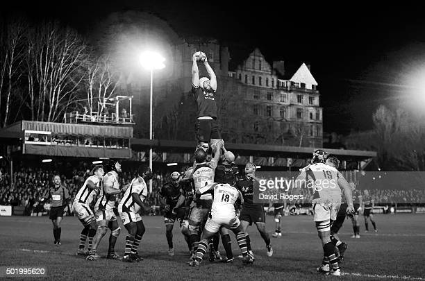 Dave Attwood of Bath wins the lineout during the European Rugby Champions Cup match between Bath and Wasps at the Recreation Ground on December 19...