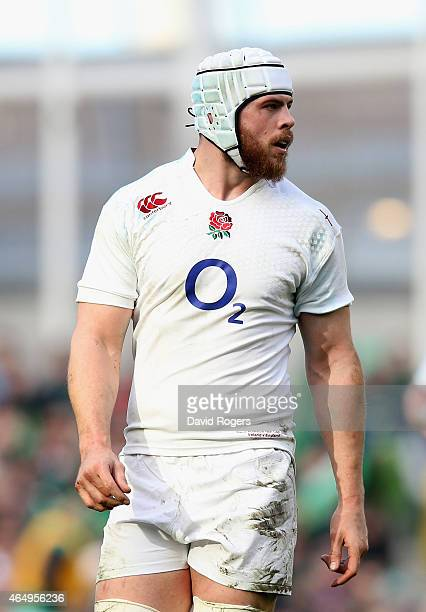 Dave Attwood of England looks on during the RBS Six Nations match between Ireland and England at the Aviva Stadium on March 1 2015 in Dublin Ireland