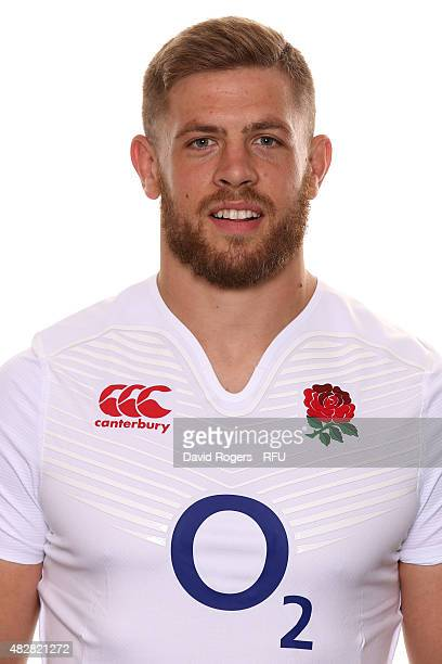 Dave Attwood of England poses for a portrait during the England squad photocall at Pennyhill Park on August 2 2015 in Bagshot England