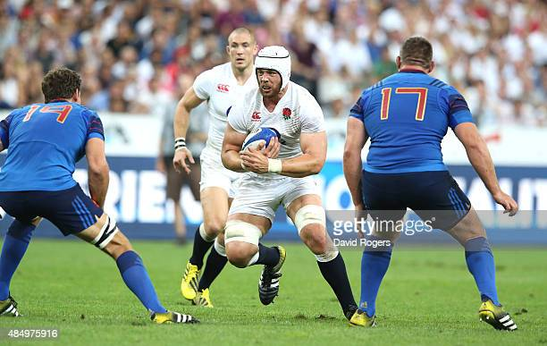 Dave Attwood of England runs with the ball during the International match between France and England at Stade de France on August 22 2015 in Paris...