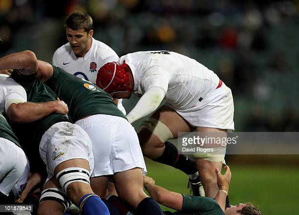 Dave Attwood the England lock rucks during the match between the Australian Barbarians and England at the Members Equity Stadium on June 8 2010 in...