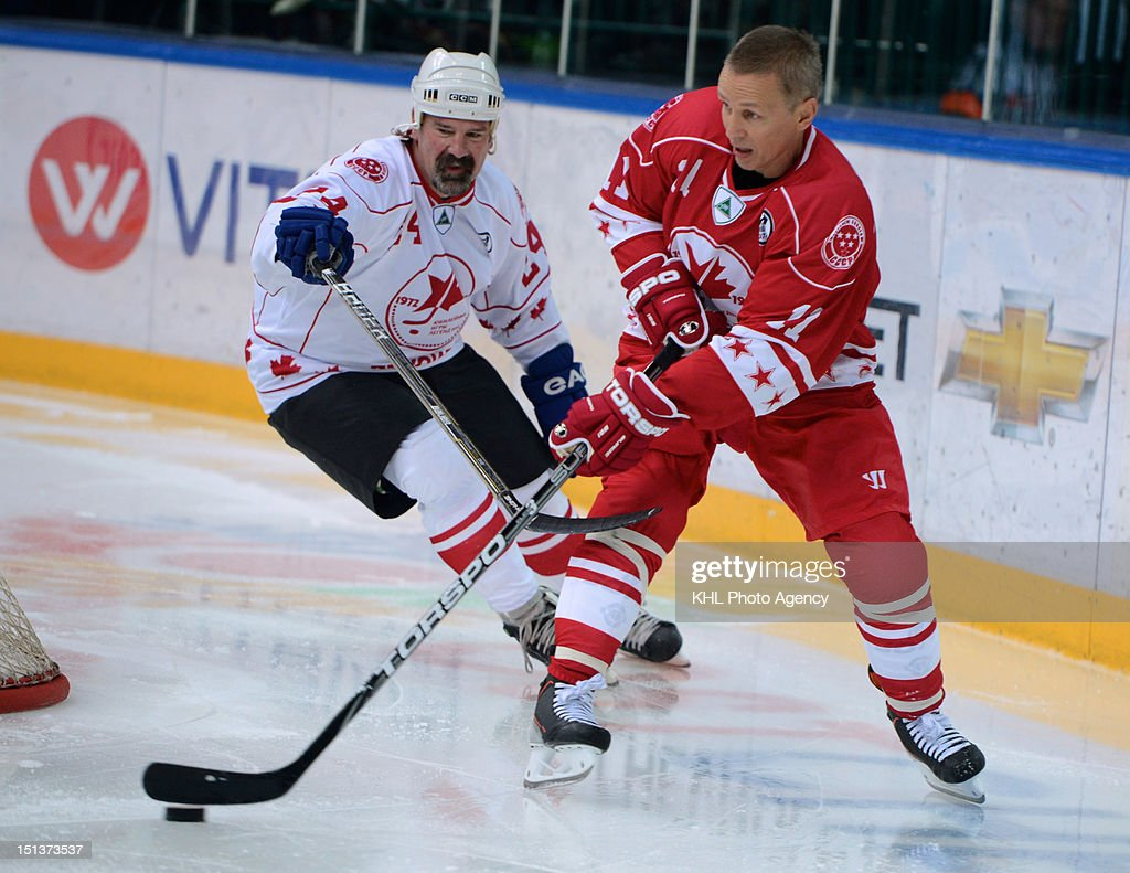 Dave Babych #24 of Canada and <a gi-track='captionPersonalityLinkClicked' href=/galleries/search?phrase=Igor+Larionov&family=editorial&specificpeople=201768 ng-click='$event.stopPropagation()'>Igor Larionov</a> #11 of USSR during the friendly match between Canada Team and USSR Team during the 40th anniversary of Summit Series 1972 on September 5, 2012 at the Arena SKA in St.Petersbourg, Russia.