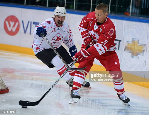 Dave Babych of Canada and Igor Larionov of USSR during the friendly match between Canada Team and USSR Team during the 40th anniversary of Summit...
