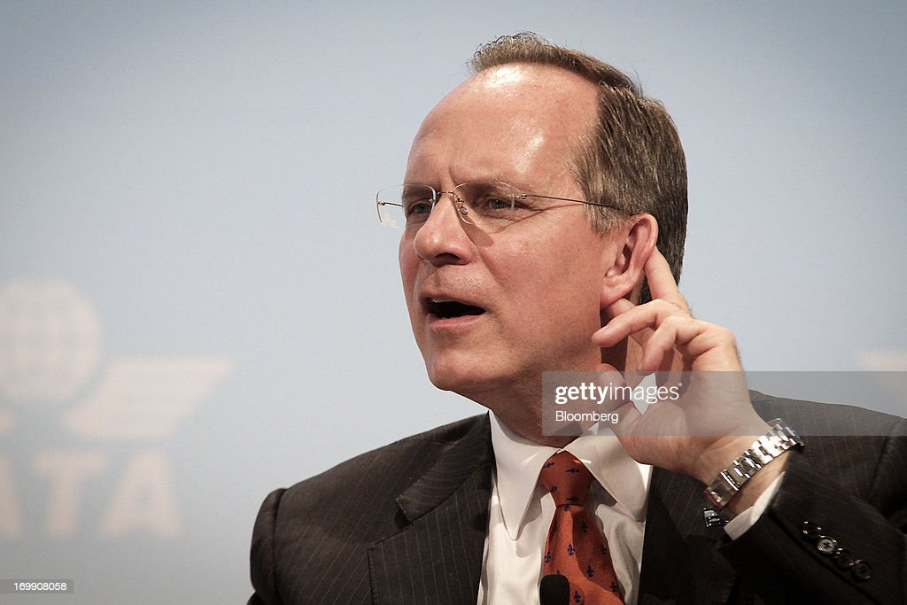 Dave Barger, chief executive officer of JetBlue Airways Corp., gestures whilst speaking during the International Air Transport Association's (IATA) annual general meeting in Cape Town, South Africa, on Tuesday, June 4, 2013. Airline earnings will be 20 percent higher this year than forecast just three months ago as capacity cuts help pack planes to record levels, the International Air Transport Association said today. Photographer: Nadine Hutton/Bloomberg via Getty Images