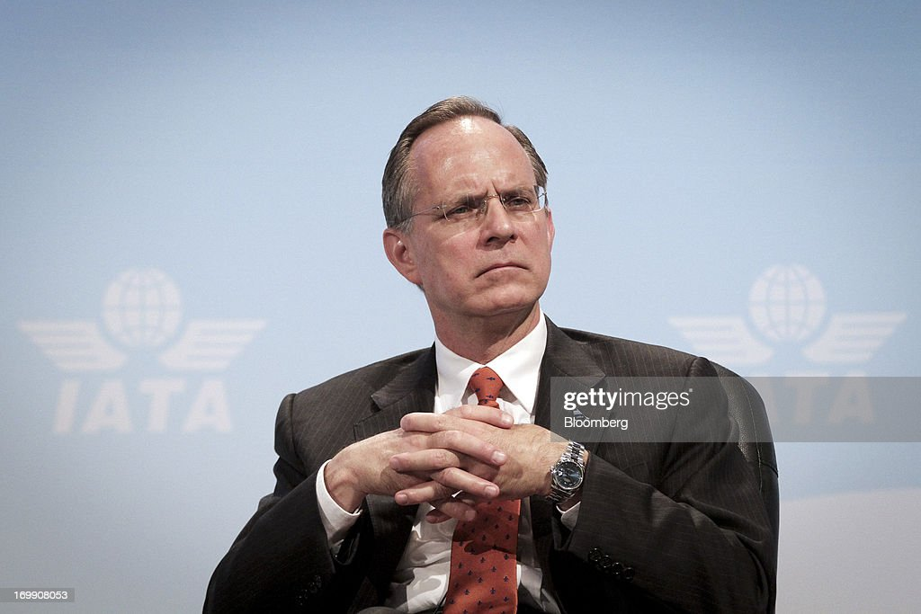 Dave Barger, chief executive officer of JetBlue Airways Corp., pauses during the International Air Transport Association's (IATA) annual general meeting in Cape Town, South Africa, on Tuesday, June 4, 2013. Airline earnings will be 20 percent higher this year than forecast just three months ago as capacity cuts help pack planes to record levels, the International Air Transport Association said today. Photographer: Nadine Hutton/Bloomberg via Getty Images