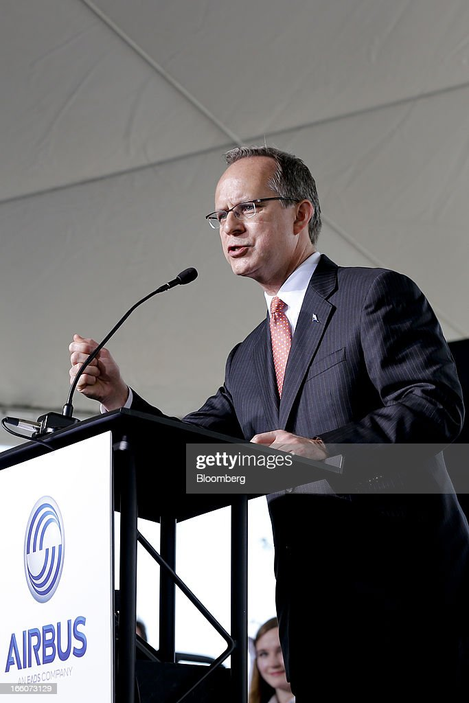 Dave Barger, president and chief executive officer of JetBlue Airways Corp., speaks during the groundbreaking ceremony for the Airbus Assembly Line Mobile facility in Mobile, Alabama, U.S., on Monday, April 8, 2013. Airbus SAS will probably seek some flexibility from its largest customers on delivery of the A320neo single-aisle jet to help accommodate new buyers, as the company tries to work through a record order book for the plane. Photographer: Derick E. Hingle/Bloomberg via Getty Images