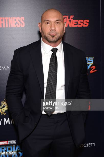 Dave Bautista attends a screening of Marvel Studios' 'Guardians of the Galaxy Vol 2' hosted by The Cinema Society at the Whitby Hotel on May 3 2017...