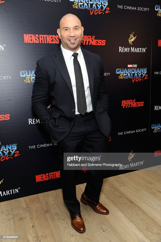 Dave Bautista attends The Cinema Society Hosts A Screening Of Marvel Studios' 'Guardians Of The Galaxy Vol. 2'- Arrivals at the Whitby Hotel on May 3, 2017 in New York City.