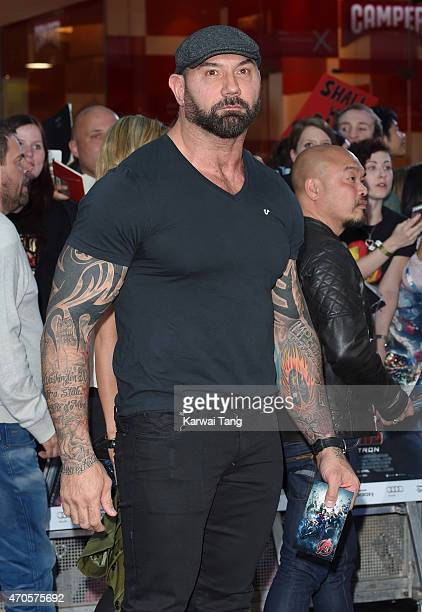 Dave Bautista attends the European premiere of 'The Avengers Age Of Ultron' at Westfield London on April 21 2015 in London England