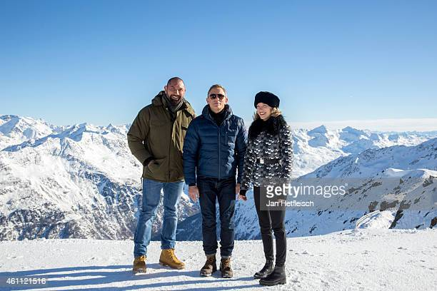 Dave Bautista Daniel Craig and Lea Seydoux pose at the photo call for the 24th Bond film 'Spectre' at ski resort on January 7 2015 in Soelden Austria