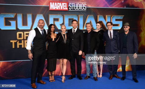 Dave Bautista Zoe Saldana Pom Klementieff Chris Pratt Kurt Russell Karen Gillan James Gunn and Michael Rooker attend the UK screening of 'Guardians...