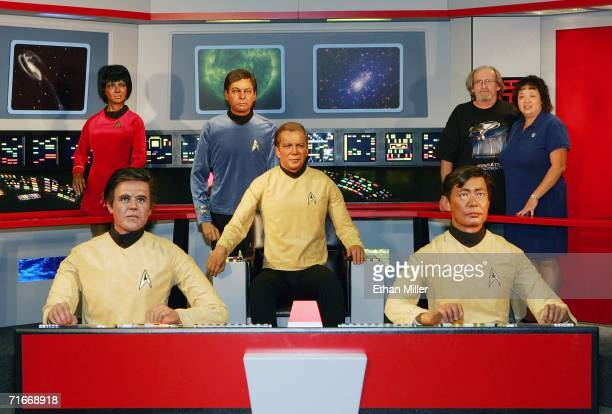Dave Bess and his wife Judy Bess of Washington have their photo taken with 'The Crew' a collection of wax figures of the original Star Trek at the...