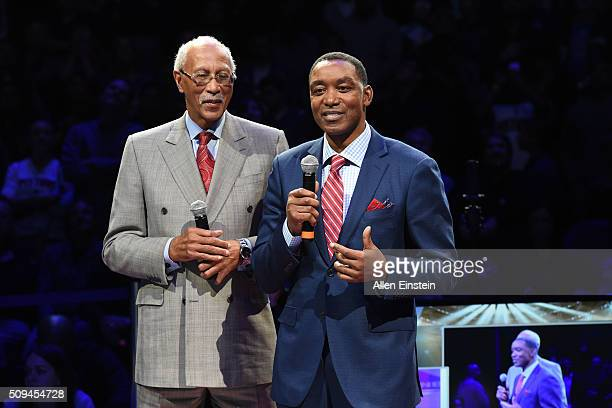 Dave Bing and Isaish Thomas speak at the half time ceremony for Chauncey Billups former Detroit Pistons player jersey retirement by the Detroit...