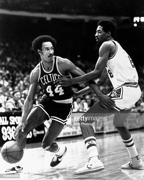 Dave Bing of the Boston Celtics passes against the Chicago Bulls circa 1978 at the Boston Garden in Boston Massachussets NOTE TO USER User expressly...