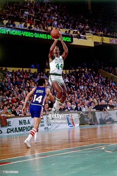 Dave Bing of the Boston Celtics shoots the ball during a game against the Philadelphia 76ers played circa 1977 at the Boston Garden in Boston...