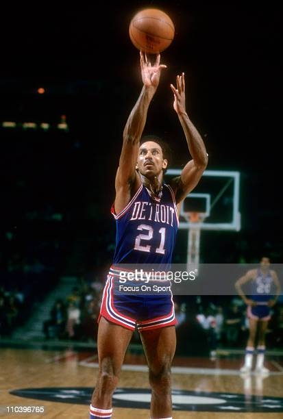 Dave Bing of the Detroit Pistons shoots a freethrow against the Washington Bullets during an NBA basketball game circa 1974 at the Baltimore Civic...