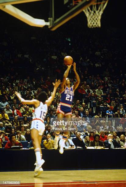 Dave Bing of the Detroit Pistons shoots against the Washington Bullets during an NBA basketball game circa 1974 at the Capital Centre in Landover...
