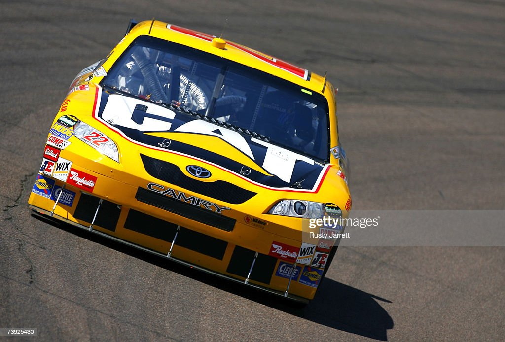 Dave Blaney driver of the Caterpillar Toyota drives during practice for the NASCAR Nextel Cup Series Subway Fresh Fit 500 at Phoenix International...