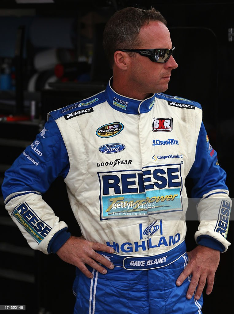 Dave Blaney, driver of the #19 Reese Towpower Ford, looks on during practice for the NASCAR Camping World Truck Series inaugural Mudsummer Classic at Eldora Speedway on July 24, 2013 in Rossburg, Ohio.