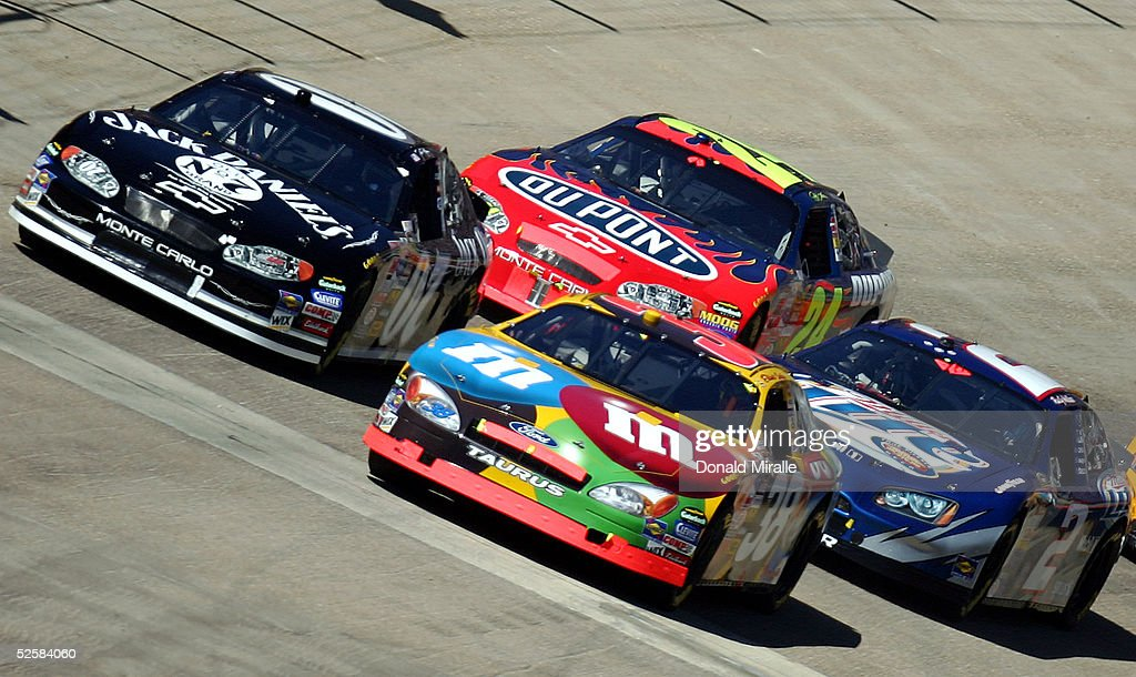 Dave Blaney in his Jack Daniel's Chevrolet Elliott Sadler in his MM's Ford Jeff Gordon in his Dupont Chevrolet and Rusty Wallace in his Miller Lite...