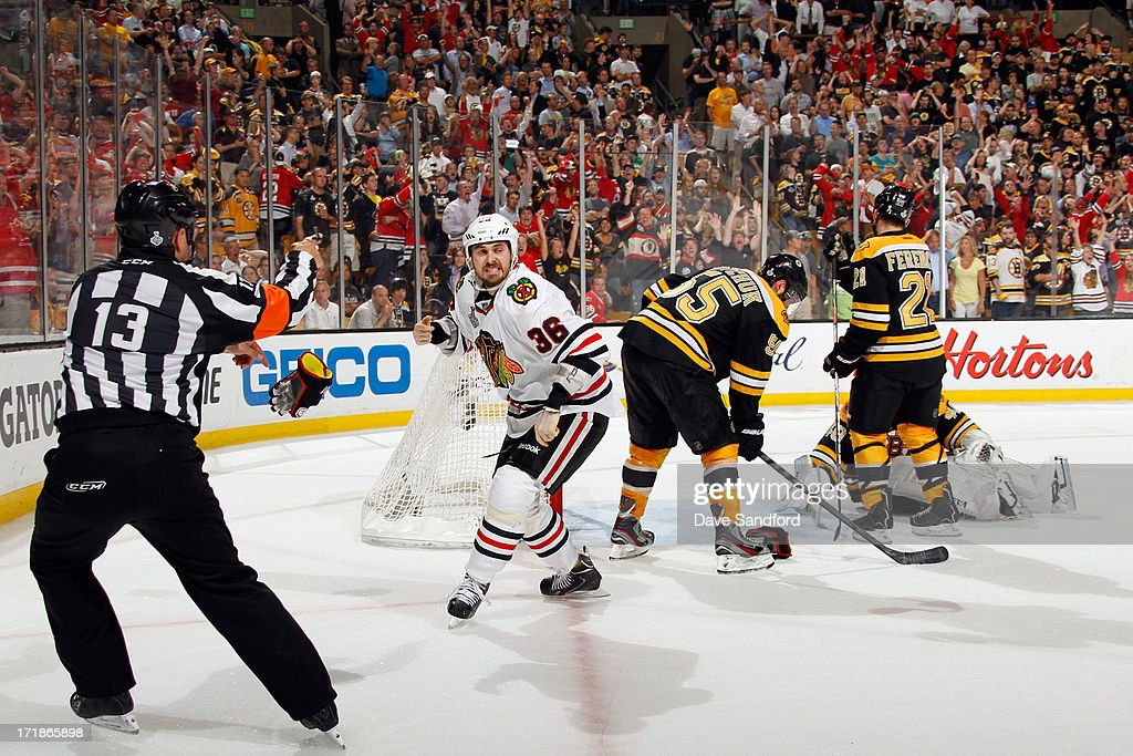 Dave Bolland #36 of the Chicago Blackhawks celebrates after scoring the game winning goal against Boston Bruins in the third period of Game Six of the 2013 Stanley Cup Final at TD Garden on June 24, 2013 in Boston, Massachusetts. The Chicago Blackhawks won the game 3-2 and the series 4-2 to win the Stanley Cup.