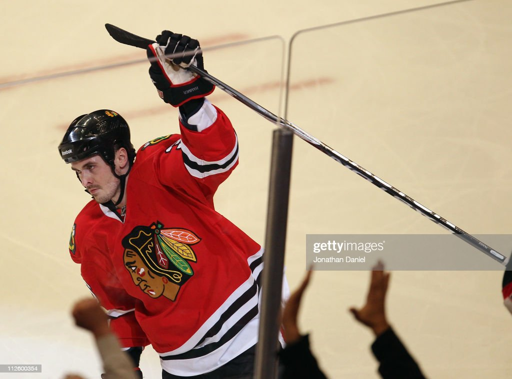 Dave Bolland of the Chicago Blackhawks celebrates his 2nd period goal against the Vancouver Canucks in Game Four of the Western Conference...