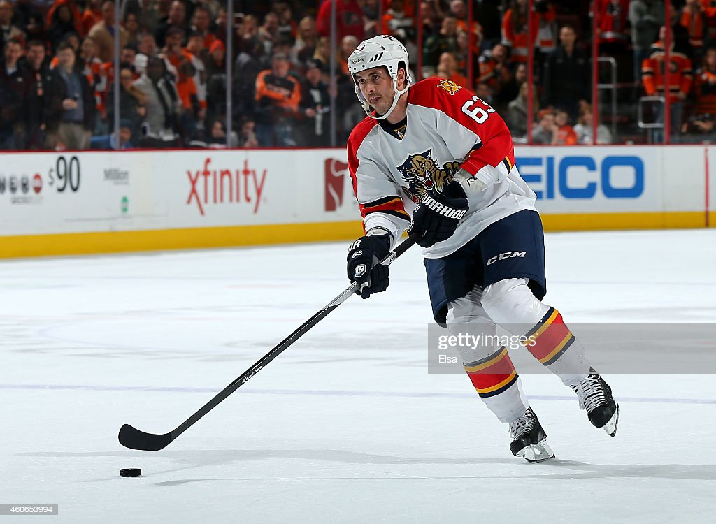 Dave Bolland #63 of the Florida Panthers takes his turn in the overtime shootout against the Philadelphia Flyers on December 18, 2014 at the Wells Fargo Center in Philadelphia, Pennsylvania.The Florida Panthers defeated the Philadelphia Flyers 2-1 in an overtime shootout.Bolland scored the game winner.