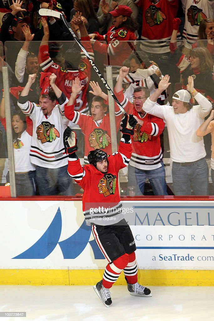 Dave Bolland #36 reacts after scoring a third period goal against the San Jose Sharks in Game Three of the Western Conference Finals during the 2010 NHL Stanley Cup Playoffs at the United Center on May 21, 2010 in Chicago, Illinois.
